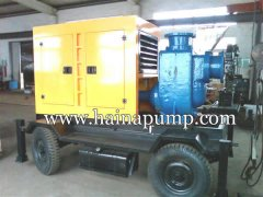 Diesel engine driven self-priming sewage pump